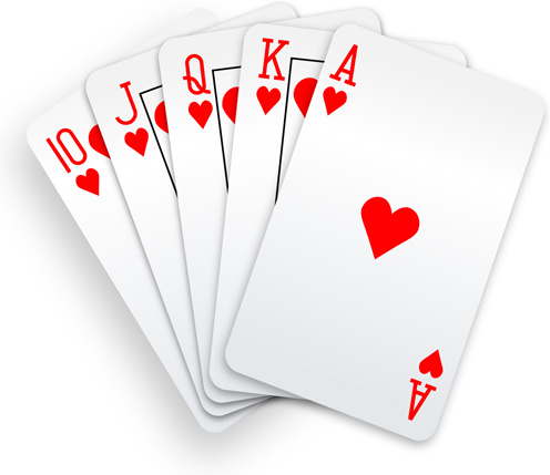 Poker Hand Royal Straight Flush Hearts cards